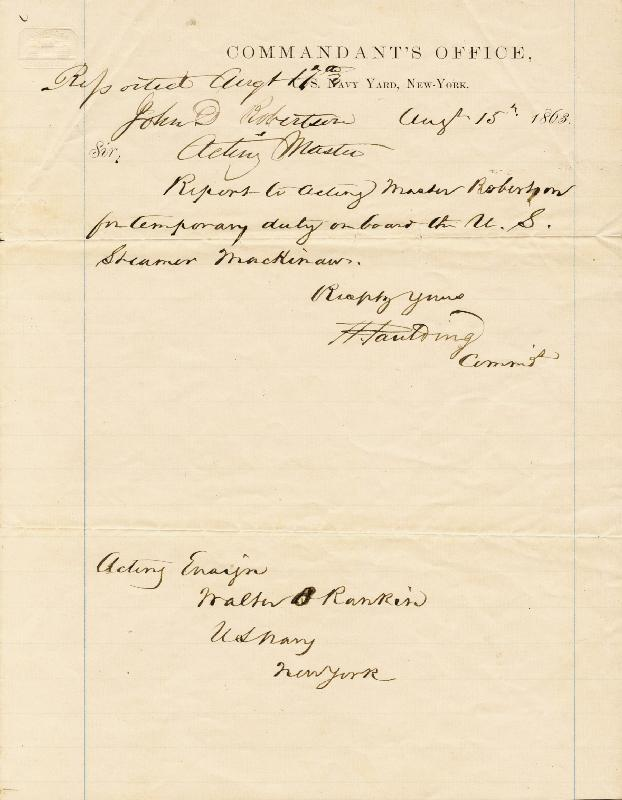 Image 1 for Rear Admiral Hiram Paulding - Manuscript Document Signed 08/15/1863 - HFSID 174660