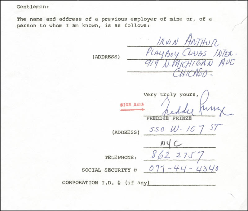 Image 1 for Freddie Prinze - Document Signed - HFSID 174664