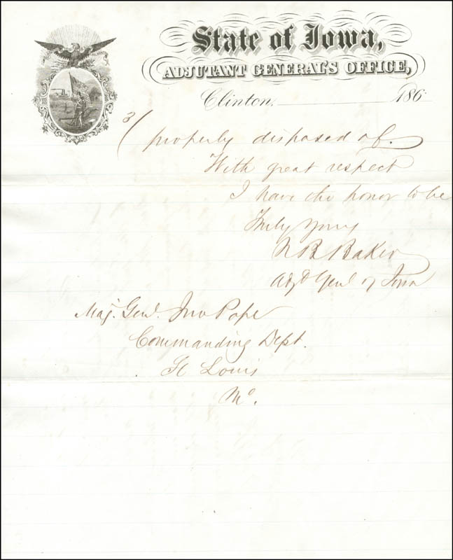 Image 3 for Governor Nathaniel Bradley Baker - Document Signed 08/14/1868 co-signed by: Colonel Thomas Duncan - HFSID 174678
