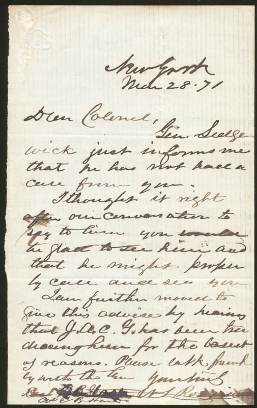 Image 1 for Major General William S. 'Old Rosy' Rosecrans - Autograph Letter Signed 03/28/1871 - HFSID 174683