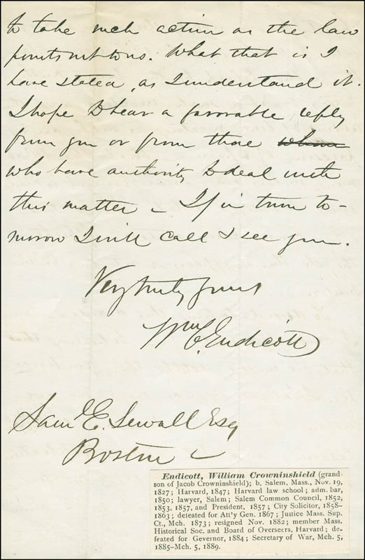 Image 1 for William C. Endicott - Autograph Letter Signed 04/09/1869 - HFSID 17470