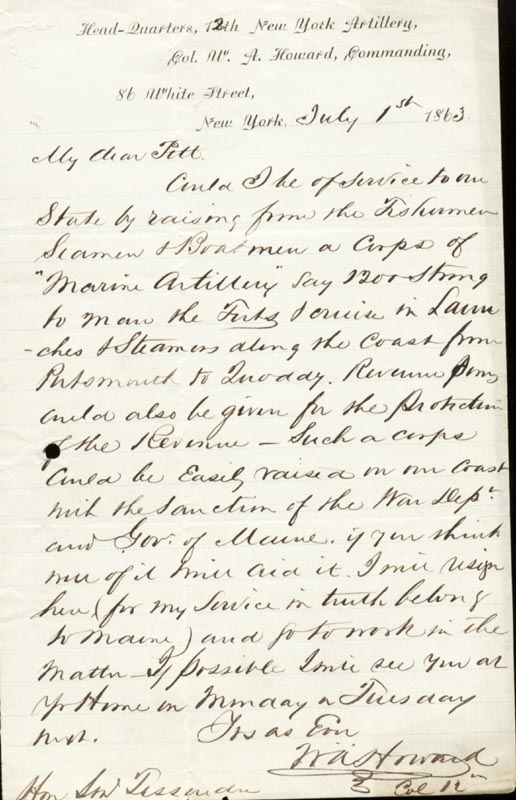 Image 1 for Colonel William A. Howard - Autograph Letter Signed 07/01/1863 - HFSID 174717