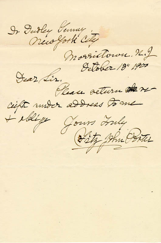 Image 1 for Major General Fitz John Porter - Autograph Letter Signed 10/13/1900 - HFSID 174733
