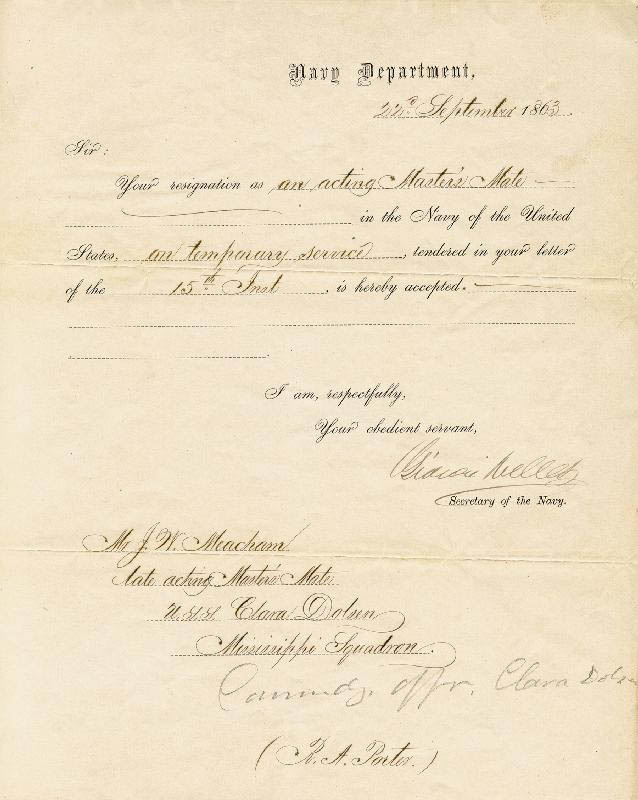 Image 1 for Gideon Welles - Naval Appointment Signed 09/22/1863 - HFSID 174749
