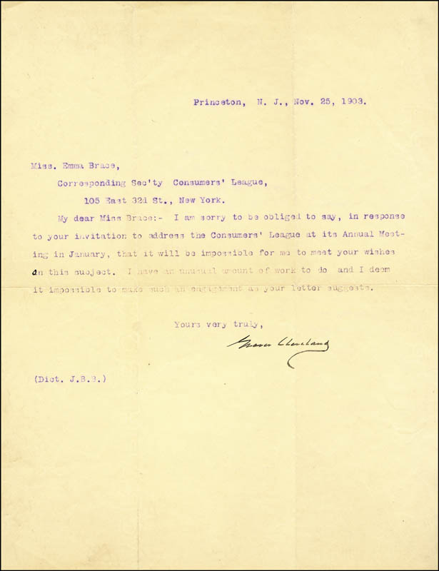 Image 1 for President Grover Cleveland - Typed Letter Signed 11/25/1903 - HFSID 17489