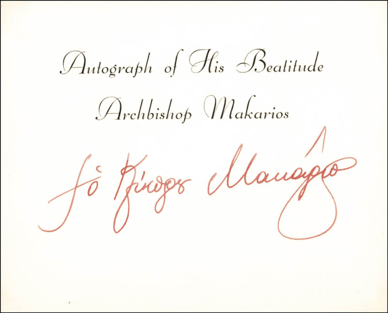 Image 1 for President Archbishop Makarios III (Cyprus) - Printed Card Signed In Ink Circa 1968 - HFSID 174925