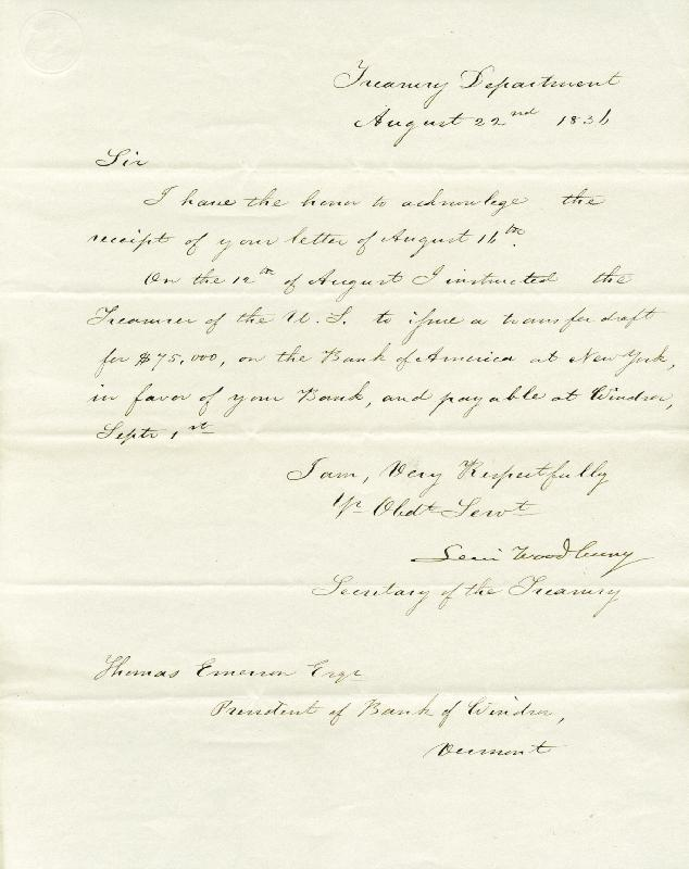Image 1 for Associate Justice Levi Woodbury - Manuscript Letter Signed 08/22/1836 - HFSID 174940