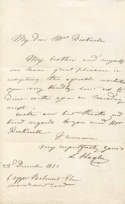 Image 1 for Louis Haghe - Autograph Letter Signed 12/23/1851 - HFSID 175014