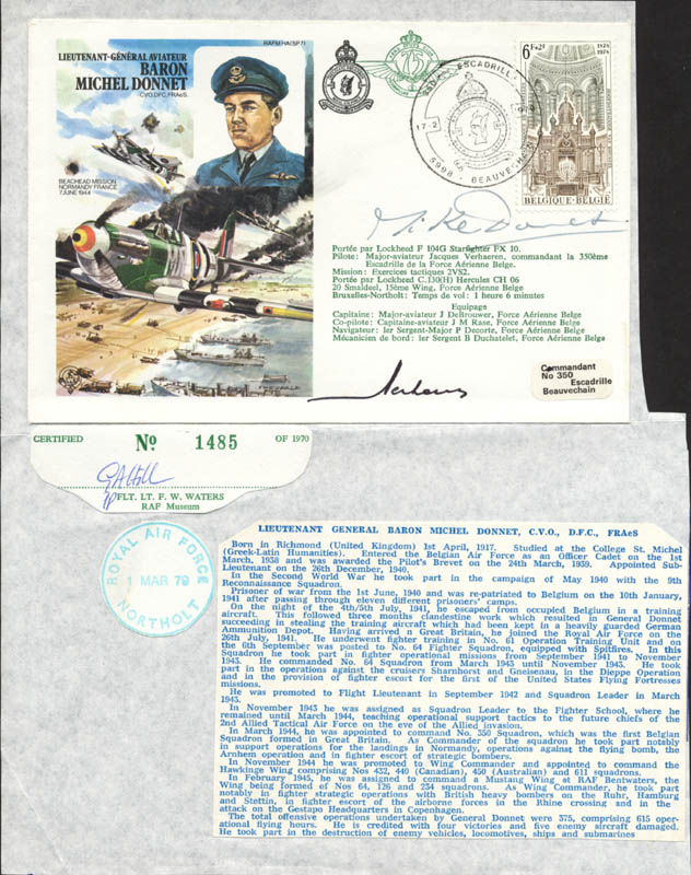 Image 1 for Lt. General Michel G.L. 'Mike' Donnet - Commemorative Envelope Signed - HFSID 175062