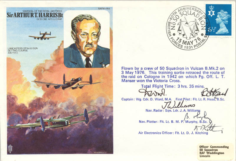 Image 1 for No. 50 Squadron Raf - Commemorative Envelope Signed co-signed by: D. Ward, R. Head, J. A. Williams, B. M. P. Murphy, D. J. Kitching - HFSID 175068