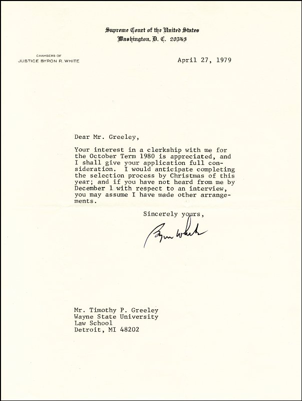 Image 1 for Associate Justice Byron R. White - Typed Letter Signed 04/27/1979 - HFSID 175356
