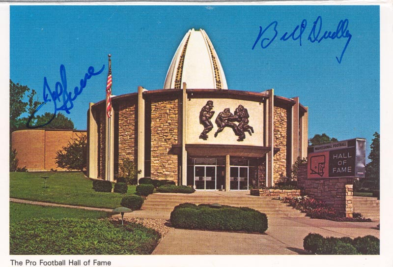 Image 1 for Joe 'Mean Joe' Greene - Picture Postcard Twice Signed co-signed by: Bill 'Bullett Bill' Dudley - HFSID 175446