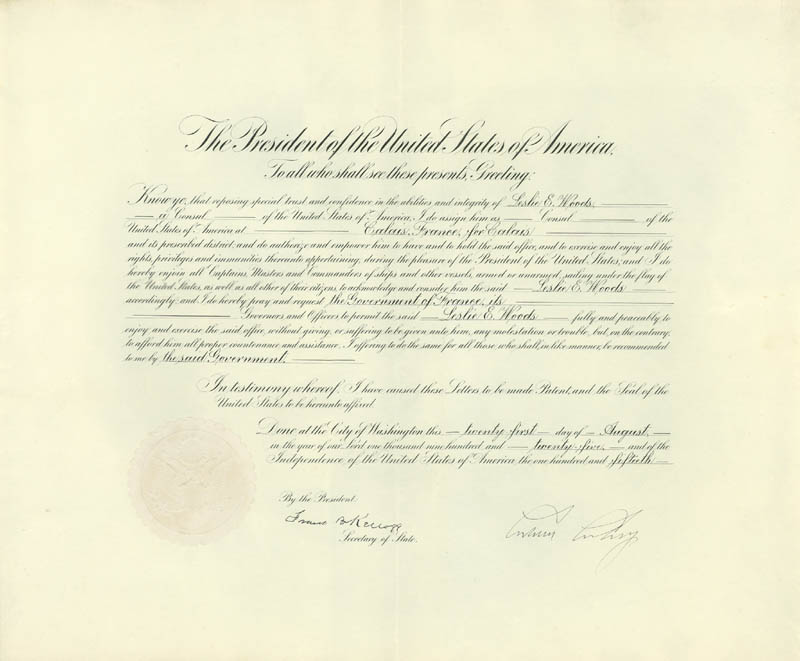 Image 1 for President Calvin Coolidge - Diplomatic Appointment Signed 08/21/1925 co-signed by: Frank B. Kellogg - HFSID 175524