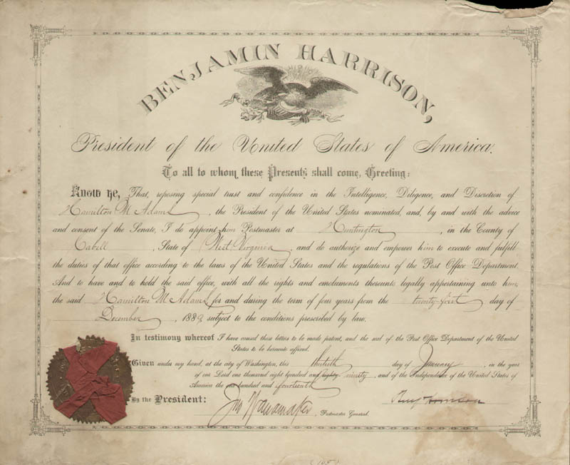 Image 1 for President Benjamin Harrison - Civil Appointment Signed 01/13/1890 co-signed by: John Wanamaker - HFSID 175528