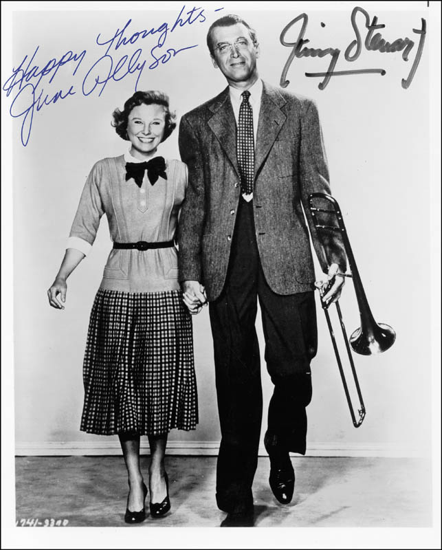 Image 1 for Glenn Miller Story Movie Cast - Autographed Signed Photograph co-signed by: James 'Jimmy' Stewart, June Allyson - HFSID 175539