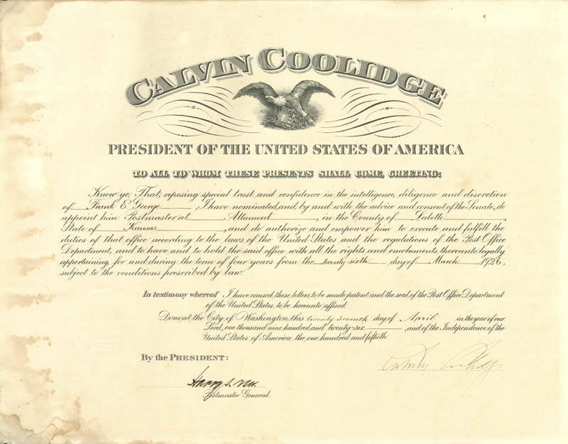 Image 1 for President Calvin Coolidge - Civil Appointment Signed 04/27/1926 co-signed by: Harry S. New - HFSID 175543