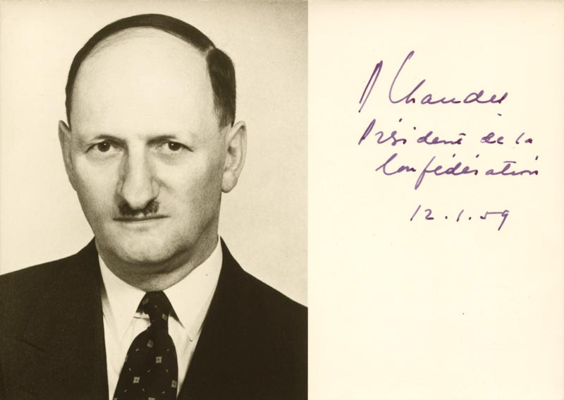 Image 1 for President Paul Chaudet (Switzerland) - Autographed Signed Photograph 01/12/1959 - HFSID 175656