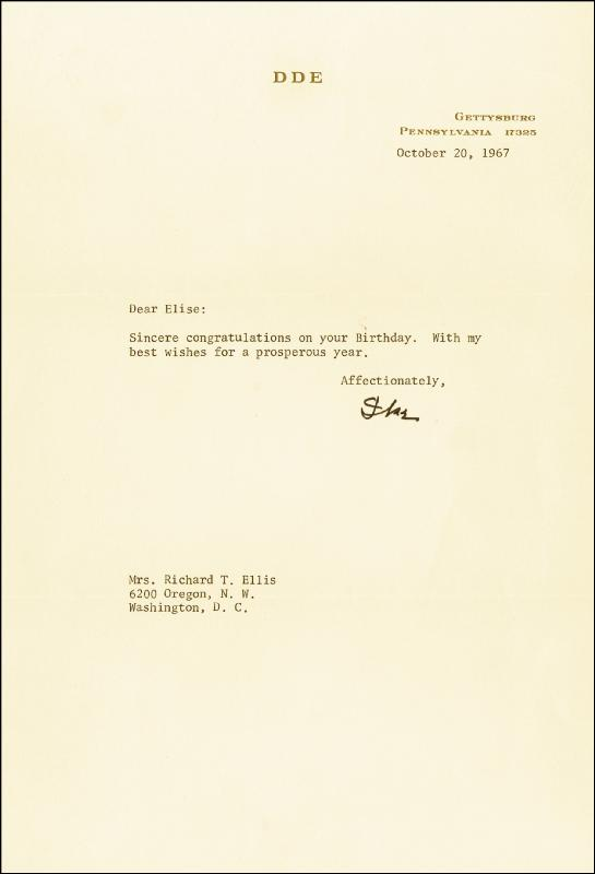 Image 1 for President Dwight D. Eisenhower - Typed Letter Signed 10/20/1967 - HFSID 17569