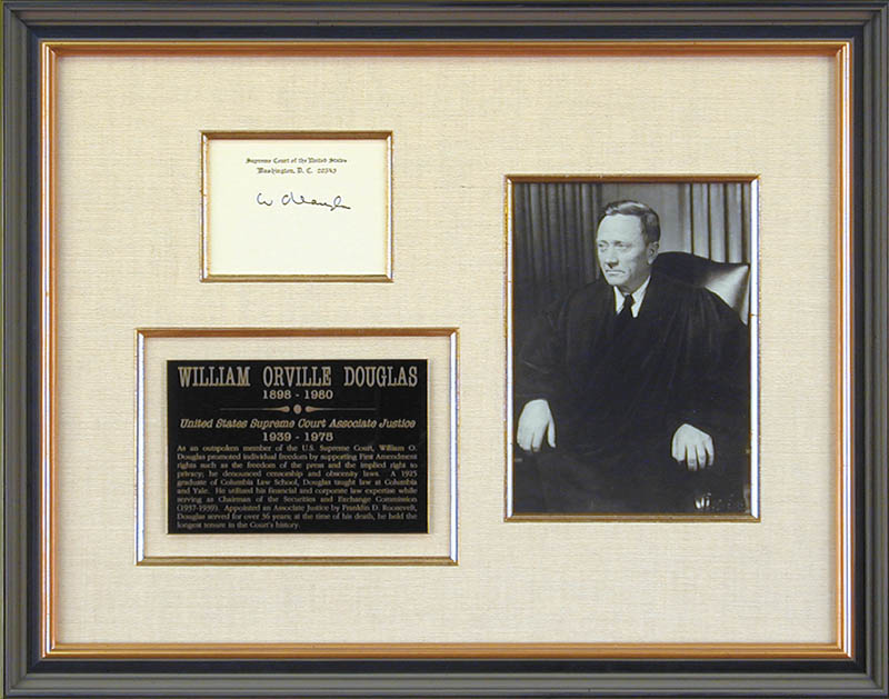 Image 1 for Associate Justice William O. Douglas - Supreme Court Card Signed - HFSID 175716