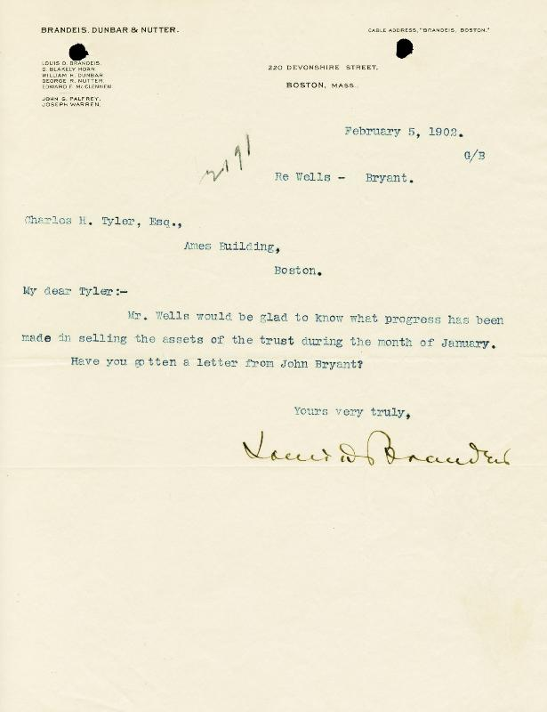 Image 1 for Associate Justice Louis D. Brandeis - Typed Letter Signed 02/05/1902 - HFSID 175737