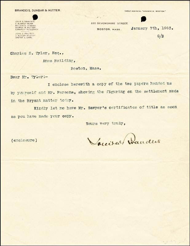 Image 1 for Associate Justice Louis D. Brandeis - Typed Letter Signed 01/07/1903 - HFSID 175755