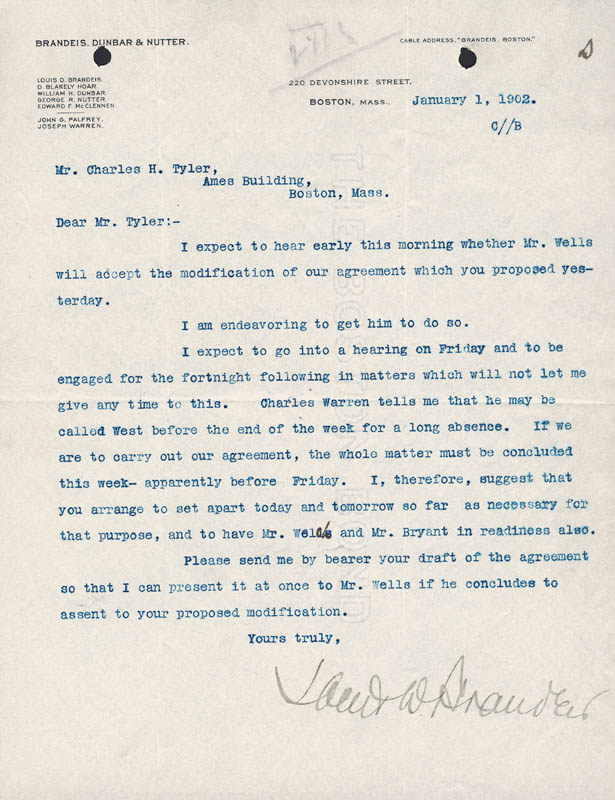 Image 1 for Associate Justice Louis D. Brandeis - Typed Letter Signed 01/01/1902 - HFSID 175757