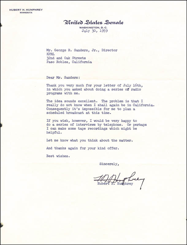 Image 1 for Vice President Hubert H. Humphrey - Typed Letter Signed 07/30/1959 - HFSID 17581