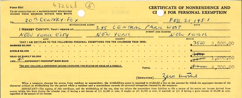 Image 1 for Zero Mostel - Document Signed 02/21/1951 - HFSID 175838