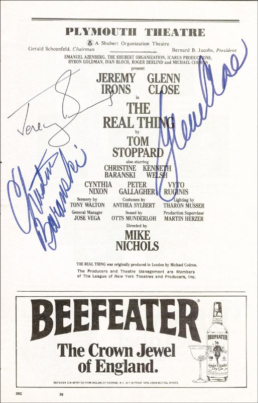 Image 1 for The Real Thing Play Cast - Show Bill Signed co-signed by: Glenn Close, Jeremy Irons, Christine Baranski - HFSID 175880