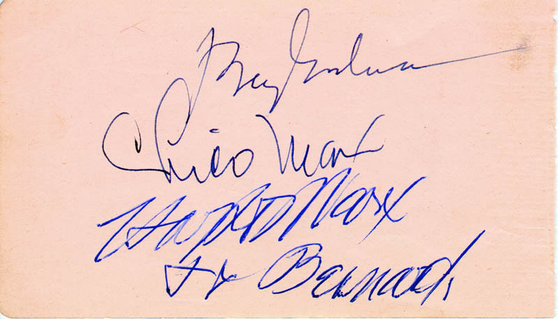 Image 1 for Benny Goodman - Autograph co-signed by: Harpo (Adolph) Marx, Herschel Bernardi, Chico (Leonard) Marx - HFSID 175991