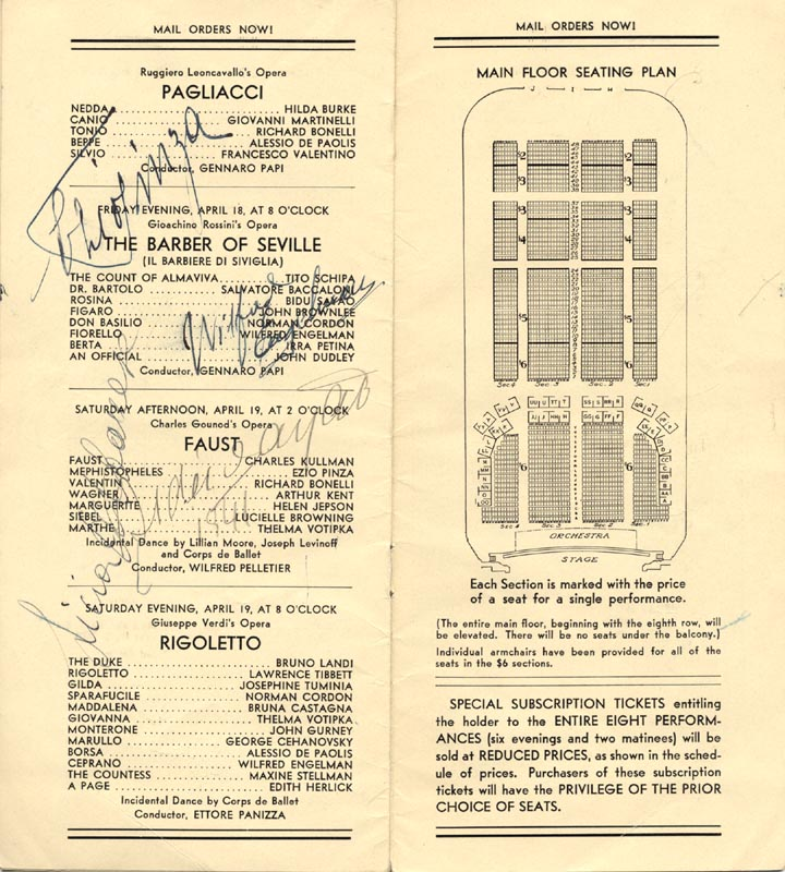 Image 1 for Ezio Pinza - Program Signed Circa 1941 with co-signers - HFSID 175999