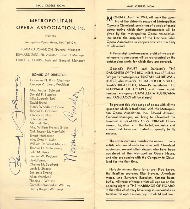 Image 4 for Ezio Pinza - Program Signed Circa 1941 with co-signers - HFSID 175999