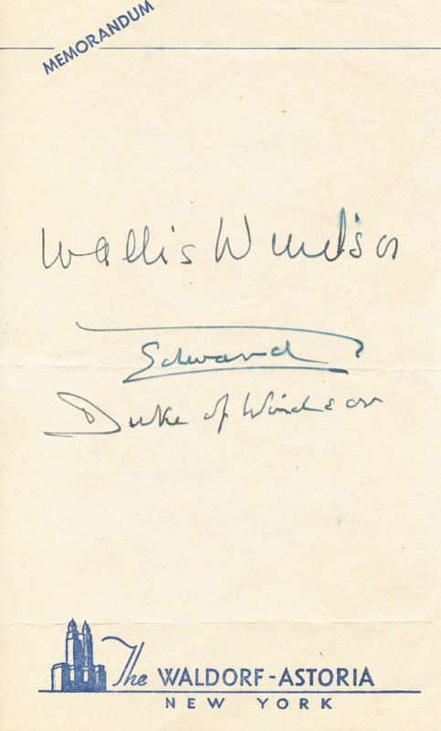 Image 1 for King Edward VIII - Autograph co-signed by: Duchess Of Windsor (Wallis Simpson) - HFSID 176078