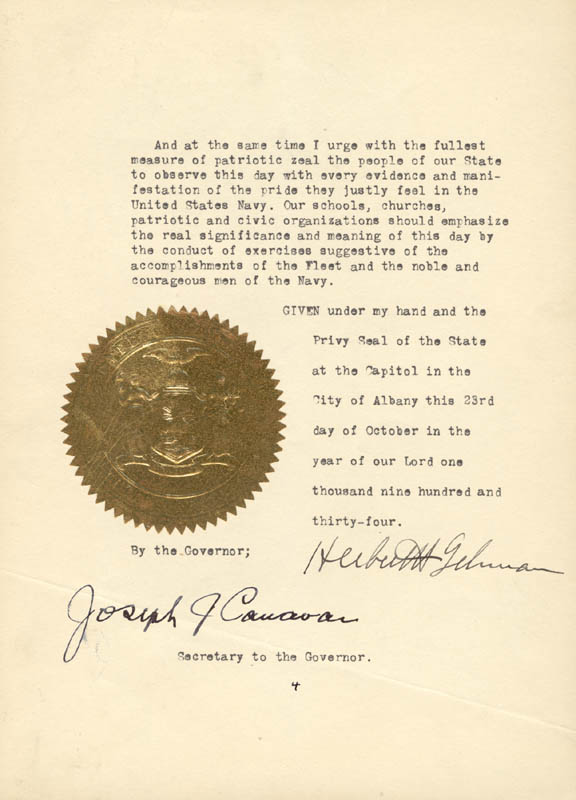 Image 1 for Governor Herbert H. Lehman - Proclamation Signed 10/23/1934 co-signed by: Joseph J. Canavan - HFSID 176109