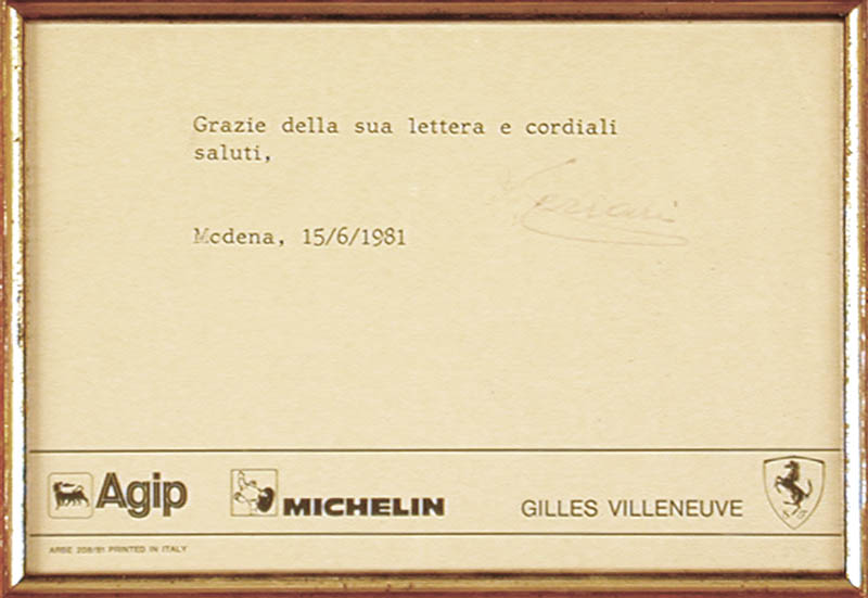 Image 3 for Enzo Ferrari - Typed Note Signed 06/14/1981 - HFSID 176139
