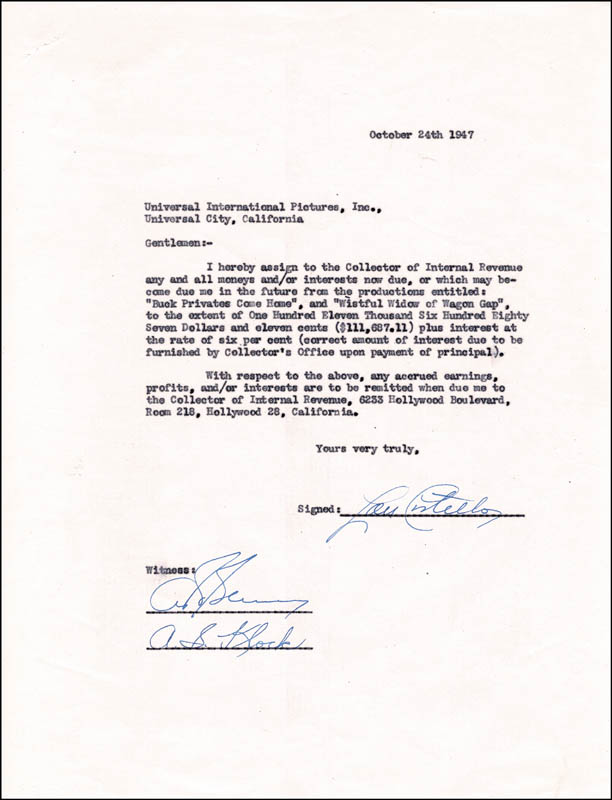 Image 1 for Abbott & Costello (Lou Costello) - Document Signed 10/24/1947 - HFSID 176143