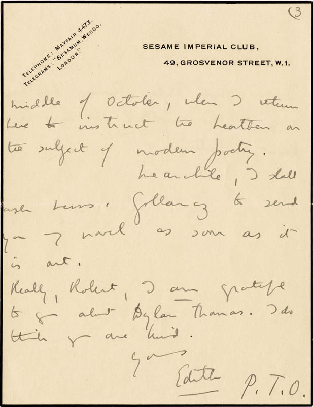 Image 1 for Dame Edith Sitwell - Autograph Letter Signed - HFSID 176155