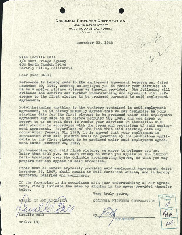 Image 1 for Lucille 'Lucy' Ball - Contract Signed 12/23/1948 - HFSID 176181