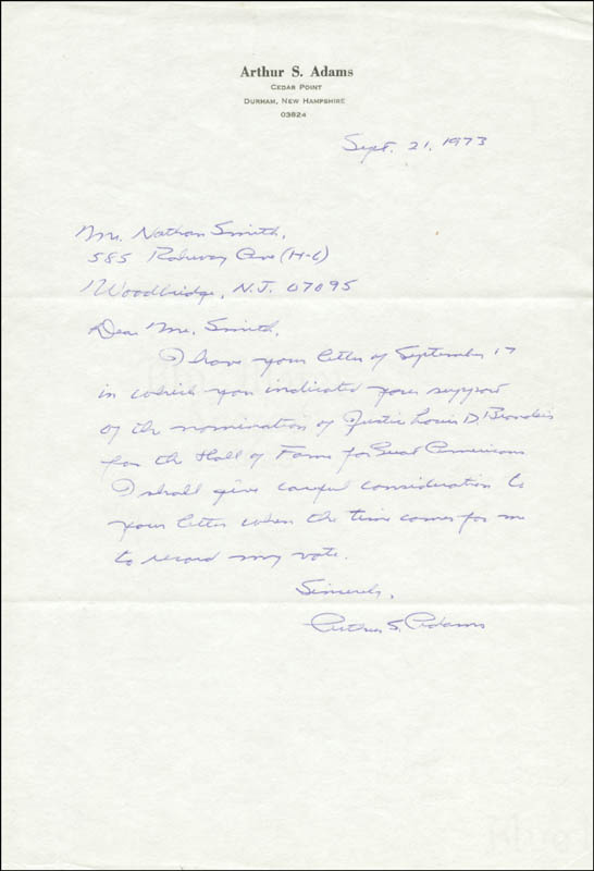 Image 1 for Arthur S. Adams - Autograph Letter Signed 09/21/1973 - HFSID 17625