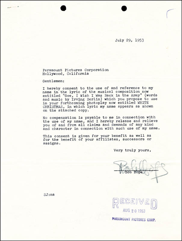 Image 1 for Bob Hope - Contract Signed 07/29/1953 - HFSID 176275