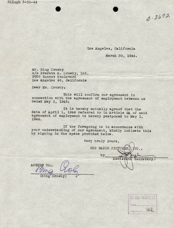 Image 1 for Bing Crosby - Contract Signed 03/30/1944 - HFSID 176277