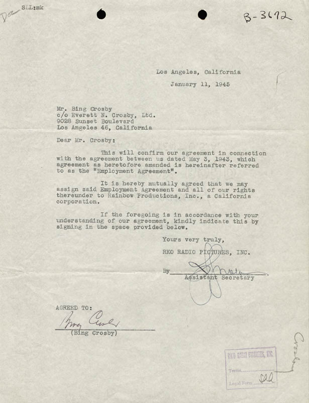 Image 1 for Bing Crosby - Contract Signed 01/11/1945 - HFSID 176278