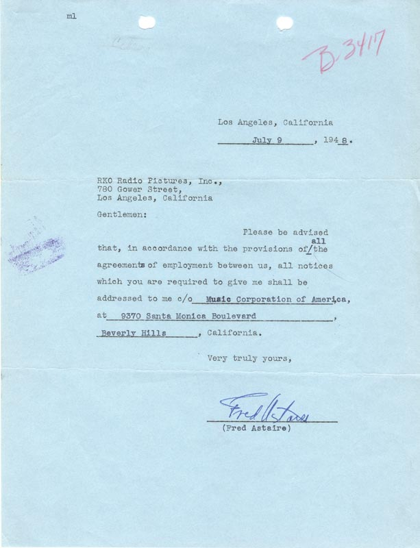 Image 1 for Fred Astaire - Document Signed 07/09/1948 - HFSID 176281