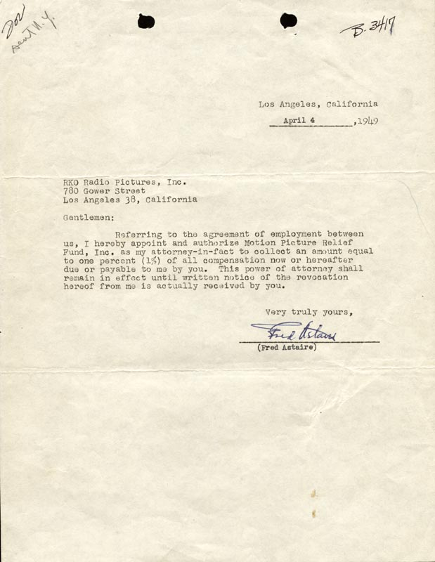 Image 1 for Fred Astaire - Typed Letter Signed 04/04/1949 - HFSID 176285