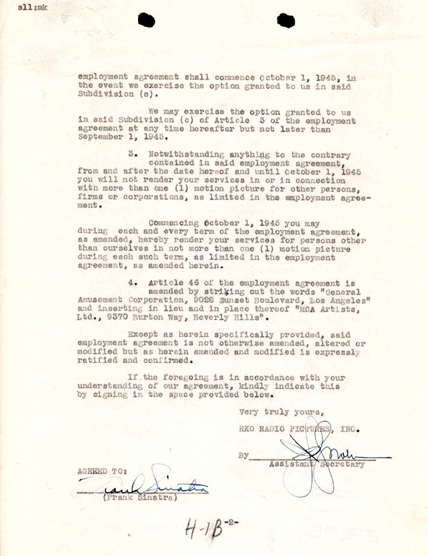 Frank Sinatra - Contract Signed 03/02/1945 | Autographs ...