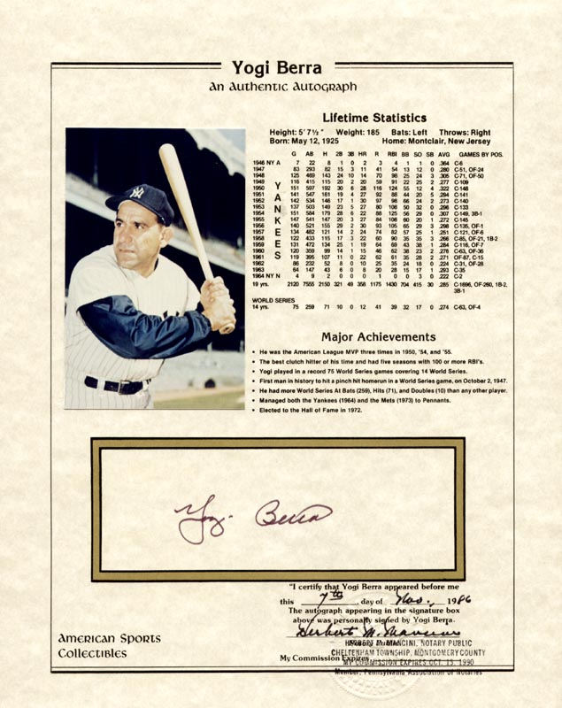 Image 1 for Yogi Berra - Document Signed 11/07/1986 co-signed by: Herbert M. Mancini - HFSID 176381