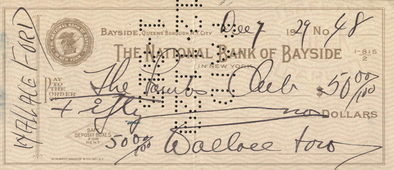 Image 1 for Wallace 'Wally' Ford - Autographed Signed Check 12/07/1929 - HFSID 176488
