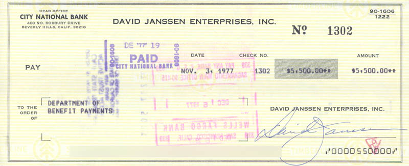 Image 1 for David Janssen - Autographed Signed Check 11/03/1977 - HFSID 176575