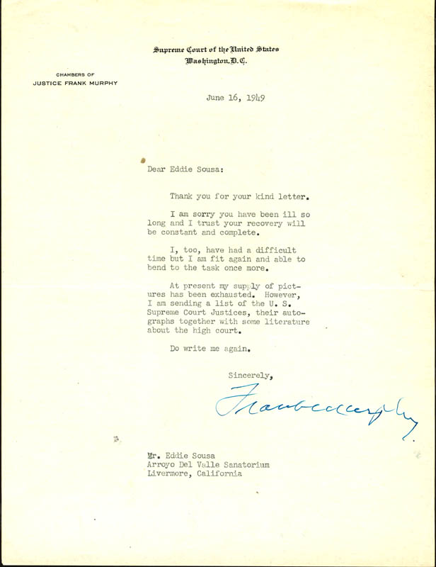 Image 1 for Associate Justice Frank Murphy - Typed Letter Signed 06/16/1949 - HFSID 176685