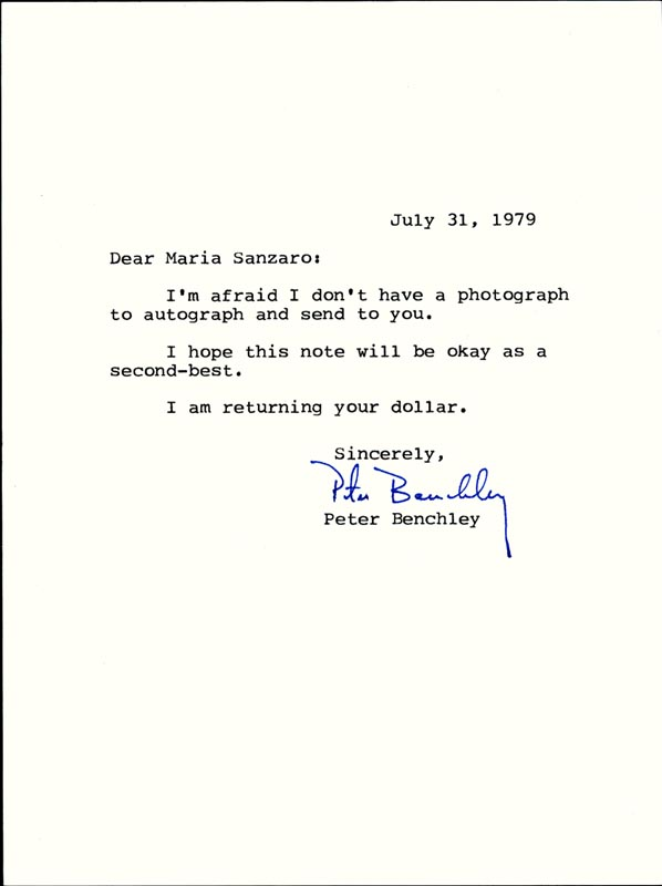Image 1 for Peter Benchley - Typed Letter Signed 07/31/1979 - HFSID 17674